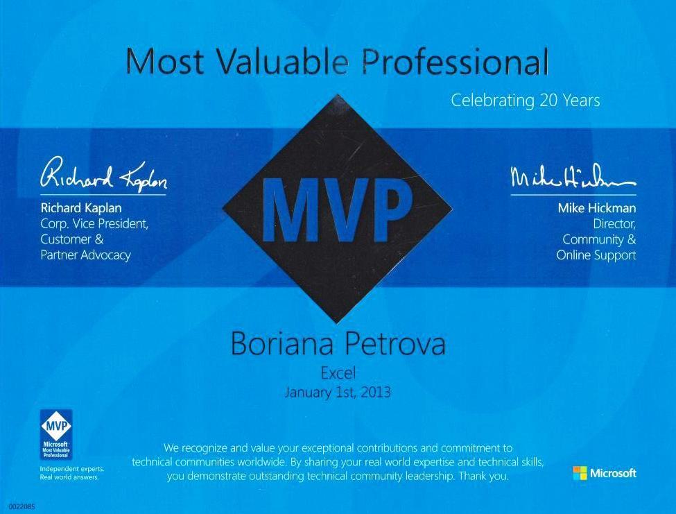 Boriana Petrova MVP