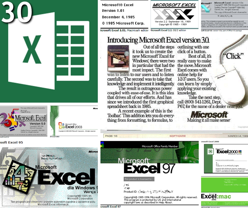 excel versions history